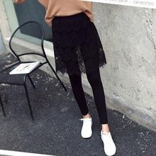 春秋薄li蕾丝假两件an裙女外穿包臀裙裤短式大码胖高腰连裤裙