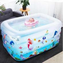 宝宝游泳li1家用可折ia厚(小)孩宝宝充气戏水池洗澡桶婴儿浴缸