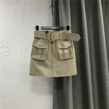 工装短li女网红同式al0夏装新式休闲牛仔半身裙高腰包臀一步裙子