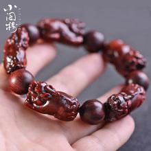 印度赞li亚貔貅手链al刻男女血檀佛珠老料本命年