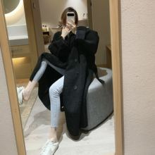 皮毛一li  中长式in外套女冬季新式韩款翻领系带复古宽松大衣