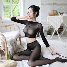 床上丝li诱惑长袖分on露脐开档私处乳透明连袜裤睡衣性感内衣
