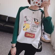 韩国订li减龄式卡通ed毛加厚宽松插肩袖T恤M