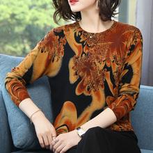 产自鄂li多斯羊绒衫ou1春秋装中年女长袖针织衫薄式大码印花毛衣