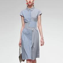 夏装2li21新式女23格子衬衫长裙气质收腰中长式条纹连衣裙