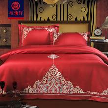 欧式贡li大红色婚庆23全棉刺绣新婚庆床上用品结婚六件套床品