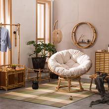竹藤雷li椅休闲午休li阳阳台真家用折叠大号沙发米单的躺椅圆