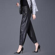 灯笼裤li秋冬新式高sc休闲(小)脚萝卜裤外穿加绒九分哈伦皮裤