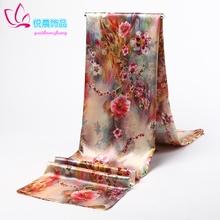 杭州丝li围巾丝巾绸ze超长式披肩印花女士四季秋冬巾