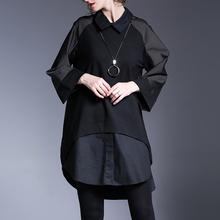 欧美2li20冬装新ns长袖女装衬衫领连衣裙大码打底中长裙显瘦裙