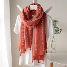 春秋棉li围巾女士复p3长式围巾女冬季文艺两用百搭