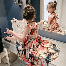 女童连li裙雪纺20on式宝宝度假沙滩裙夏装大童波西米亚吊带裙子