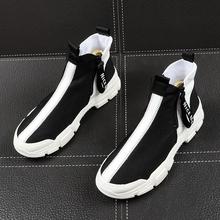 新式男li短靴韩款潮on靴男靴子青年百搭高帮鞋夏季透气帆布鞋