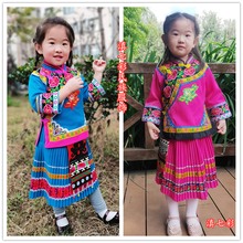 新式(小)li尼族女童裙on 绣花女孩服装 彝族火把节生活民族服饰