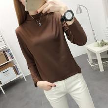 半高领li底(小)衫女士on袖2021新式韩款学生上衣服百搭港风t恤