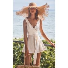 (小)个子li滩裙202on夏性感V领海边度假短裙气质显瘦白色连衣裙