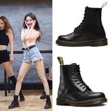 夏季马li靴女英伦风on底透气机车靴子女加绒短靴筒chic工装靴