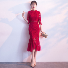 旗袍平li可穿202ai改良款红色蕾丝结婚礼服连衣裙女