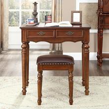 美式乡li书桌全实木ai欧式办公桌宝宝学习桌(小)户型卧室写字台