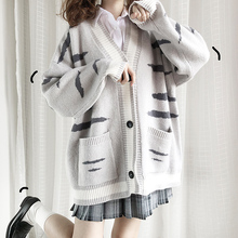 猫愿原li【虎纹猫】ai套加厚秋冬甜美新式宽松中长式日系开衫
