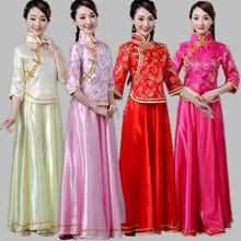 中式伴li服冬季结婚al妹裙长式复古中国风古筝二胡古装演出服
