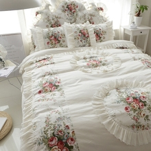 韩款床li式春夏季全al套蕾丝花边纯棉碎花公主风1.8m床上用品