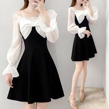 一字肩li衣裙女长袖am021新式韩款显瘦黑白拼接蝴蝶结裙子春式