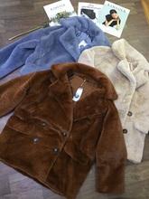 FP原单双排扣西装领li7袖毛毛衣am草保暖外套宽松三色百搭女