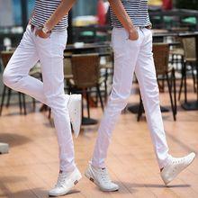白色牛li男潮牌纯色am季式日常(小)脚直筒裤弹力中腰青年男裤子