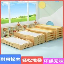 实木头li用宝宝午睡am班单的叠叠床加厚幼儿(小)床定制