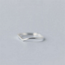 (小)张的li事原创设计er纯银戒指简约V型指环女开口可调节配饰