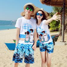 送拖鞋li滩情侣装夏es20新式蜜月海边度假套装韩范女男短袖t恤