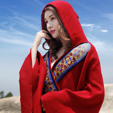 云南丽li青海湖旅游es照大红色民族风斗篷连帽外套女秋冬女装