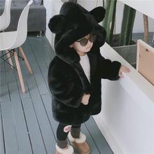 宝宝棉li冬装加厚加ur女童宝宝大(小)童毛毛棉服外套连帽外出服