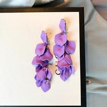 201li夏季新式耳ui花瓣紫色妖艳个性夸张女长式耳坠银针耳饰女