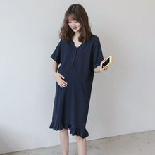 孕妇装li装T恤长裙ji闲式 气质显瘦可哺乳衣服夏季连衣裙潮妈
