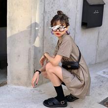 法式格li裙子女20ub式复古双排扣气质收腰a字显瘦西装连衣裙夏