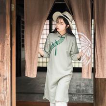 远镇民国女装棉麻文艺li7连衣裙茶zi秋禅意茶艺师服装女茶服