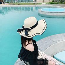 草帽女li天沙滩帽海zi(小)清新韩款遮脸出游百搭太阳帽遮阳帽子
