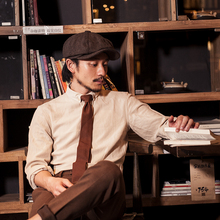 SOAliIN英伦复zi衬衫男 Vintage古着垂感商务休闲打底长袖衬衣