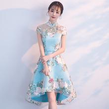 改良旗li2021新zi前短后长礼服连衣裙女短式宴会少女日常可穿