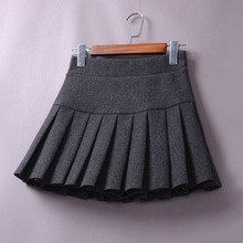[lizzi]毛呢子短裙高腰半身裙百褶