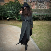 AYAli女装春秋季zi美街头拼皮纯色系带修身超长式毛衣开衫外套