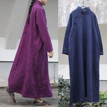 提花棉li禅意立领中zi长式袍子连衣裙 复古文艺女式长衫长袍