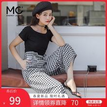 mc2lj件套夏装2gl新式上班时尚气质式高腰裤弹力短袖T套装
