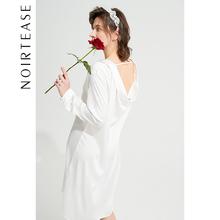 NoilkTeasezp友风宽松女士丝质薄式长袖睡衣女夏外穿