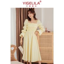 202ll春式仙女裙lc领法式连衣裙长式公主气质礼服裙子平时可穿