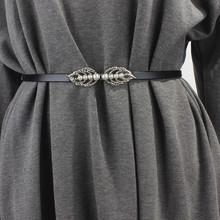 简约百lm女士细腰带rd尚韩款装饰裙带珍珠对扣配连衣裙子腰链
