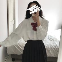 东日是lm卷毛 日系hg白色长袖领结衬衫女学生宽松蝴蝶结衬衣