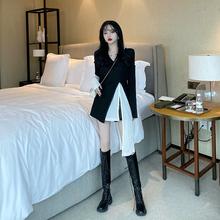 长袖Tlm女春装20lg式韩款中长式白色打底衫+修身内搭两件套上衣